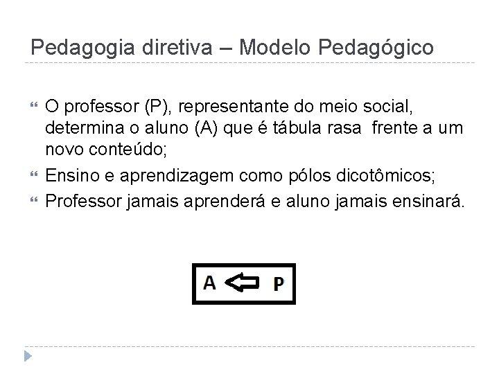 Pedagogia diretiva – Modelo Pedagógico O professor (P), representante do meio social, determina o