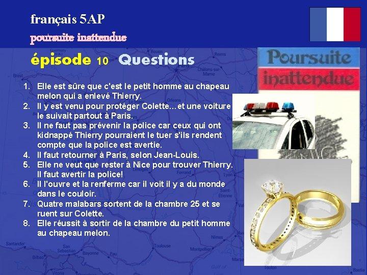 français 5 AP poursuite inattendue épisode 10 Questions 1. Elle est sûre que c'est