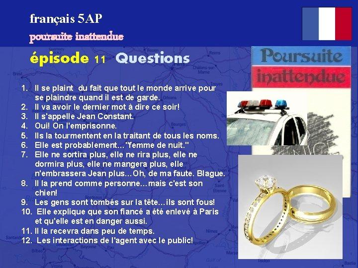 français 5 AP poursuite inattendue épisode 11 Questions 1. Il se plaint du fait