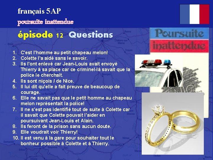 français 5 AP poursuite inattendue épisode 12 Questions 1. C'est l'homme au petit chapeau