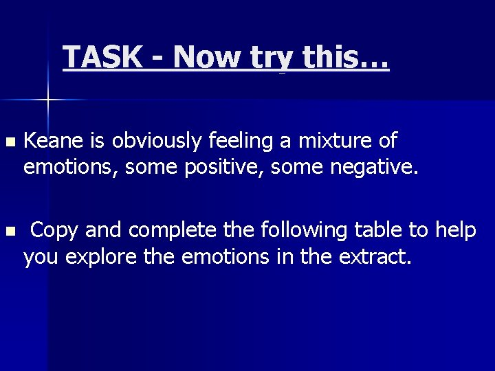 TASK - Now try this… n Keane is obviously feeling a mixture of emotions,