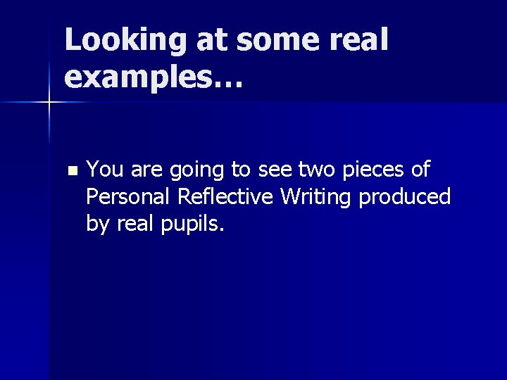 Looking at some real examples… n You are going to see two pieces of