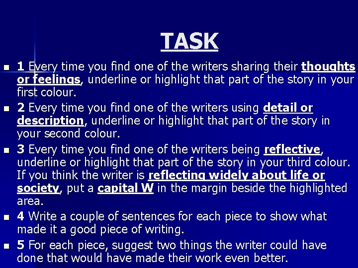 TASK n n n 1 Every time you find one of the writers sharing