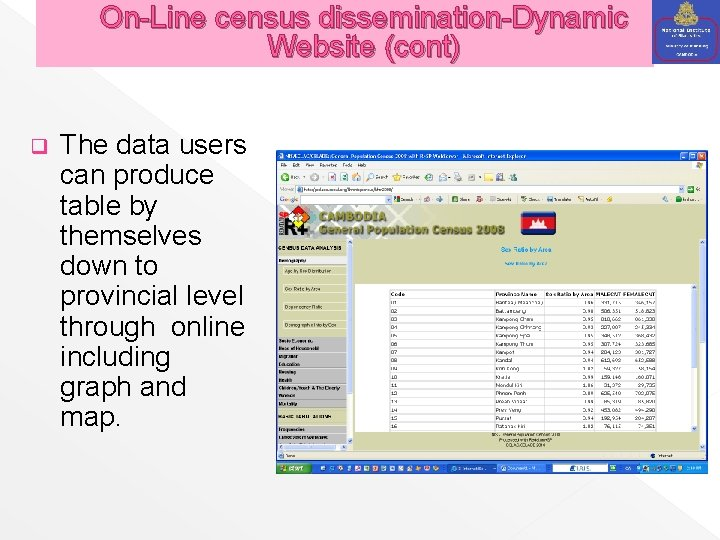 On-Line census dissemination-Dynamic Website (cont) q The data users can produce table by themselves