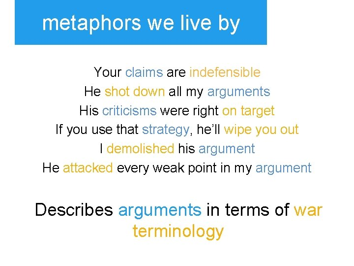 metaphors we live by Your claims are indefensible He shot down all my arguments
