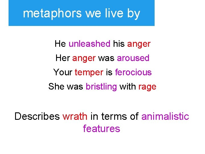 metaphors we live by He unleashed his anger Her anger was aroused Your temper