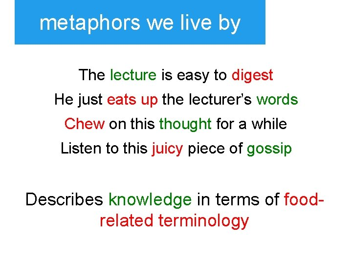 metaphors we live by The lecture is easy to digest He just eats up