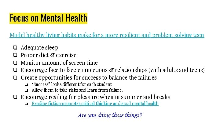 Focus on Mental Health Model healthy living habits make for a more resilient and