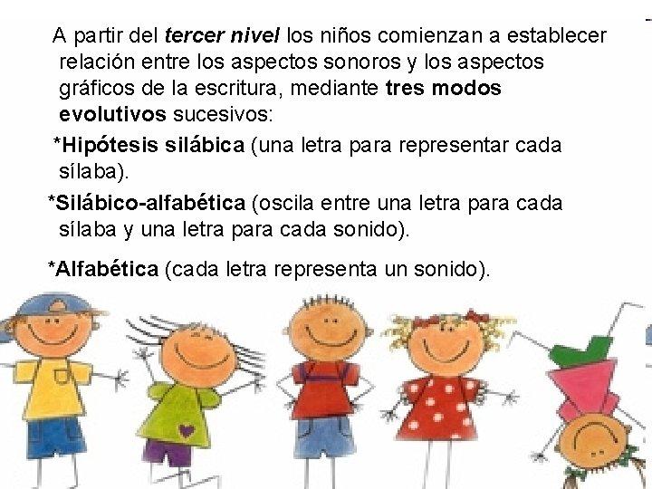 A partir del tercer nivel los niños comienzan a establecer relación entre los aspectos