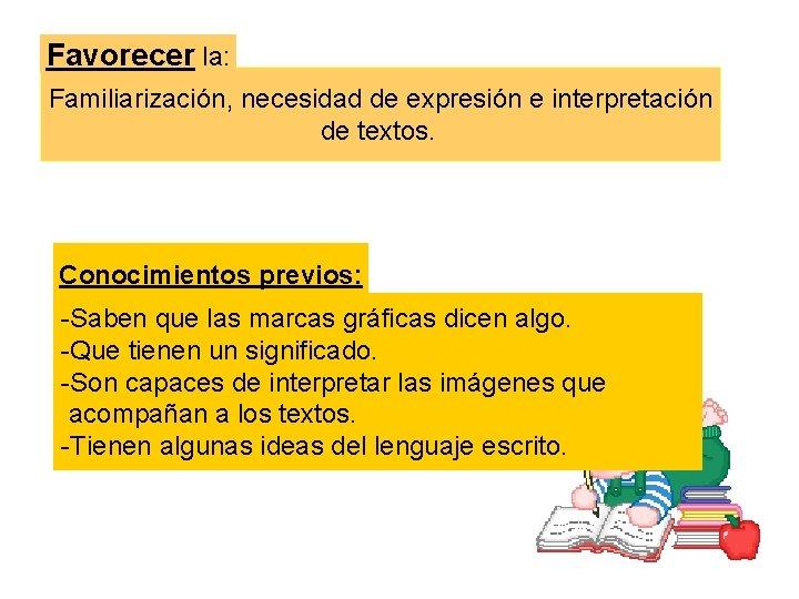 Favorecer la: Familiarización, necesidad de expresión e interpretación de textos. Conocimientos previos: -Saben que
