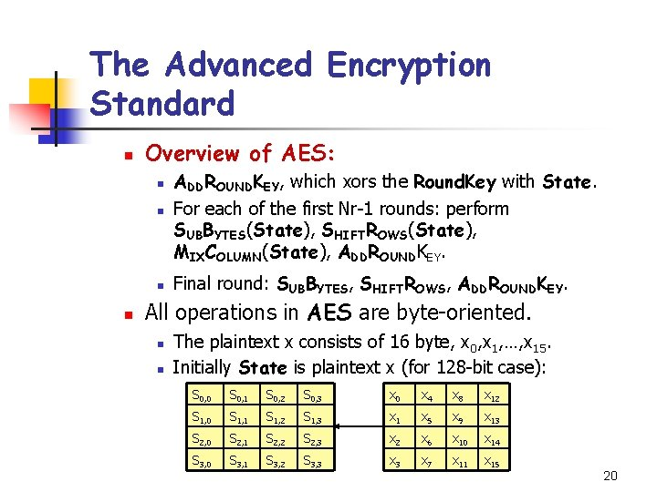 The Advanced Encryption Standard n Overview of AES: n ADDROUNDKEY, which xors the Round.