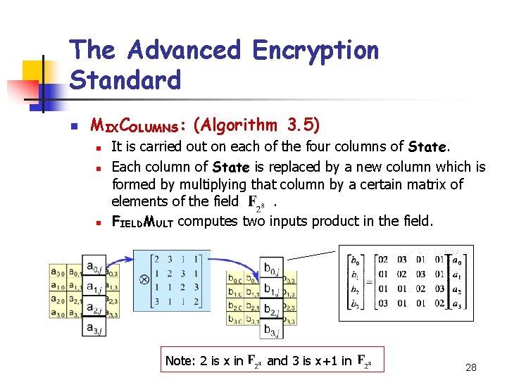 The Advanced Encryption Standard n MIXCOLUMNS: (Algorithm 3. 5) n n n It is