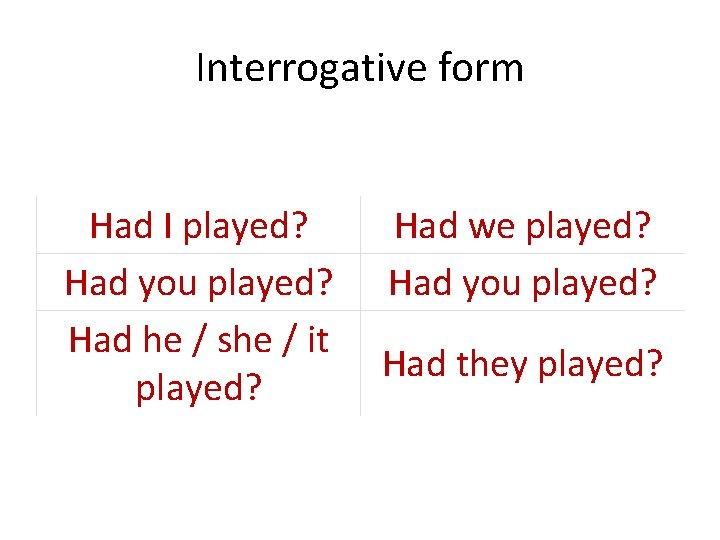 Interrogative form Had I played? Had you played? Had he / she / it