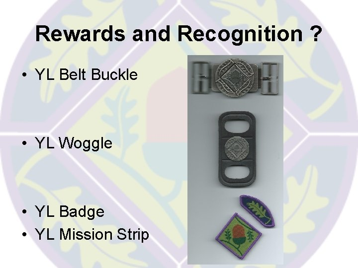 Rewards and Recognition ? • YL Belt Buckle • YL Woggle • YL Badge