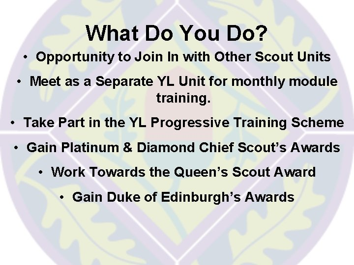 What Do You Do? • Opportunity to Join In with Other Scout Units •