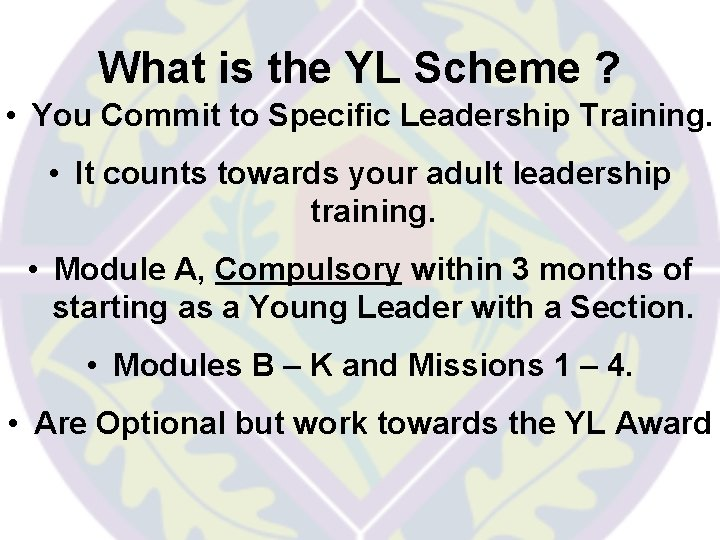 What is the YL Scheme ? • You Commit to Specific Leadership Training. •
