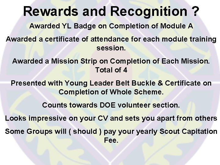Rewards and Recognition ? Awarded YL Badge on Completion of Module A Awarded a