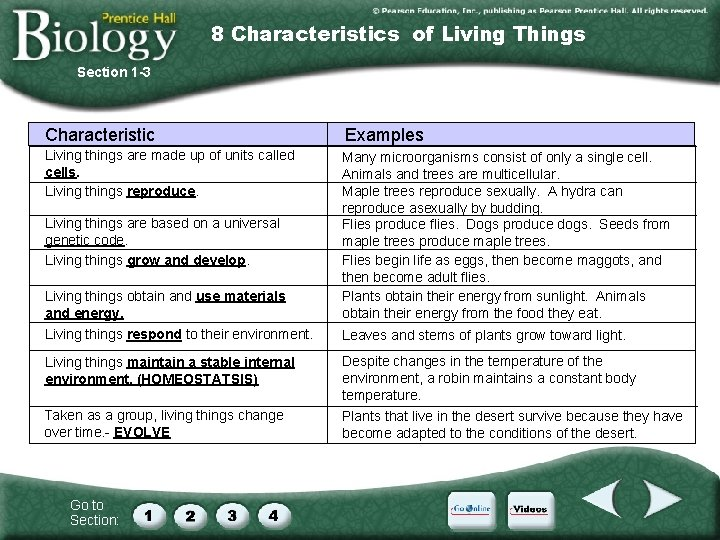 8 Characteristics of Living Things Section 1 -3 Characteristic Examples Living things are made