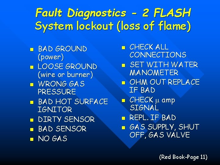 Fault Diagnostics - 2 FLASH System lockout (loss of flame) n n n n