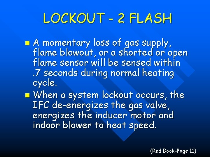 LOCKOUT - 2 FLASH A momentary loss of gas supply, flame blowout, or a