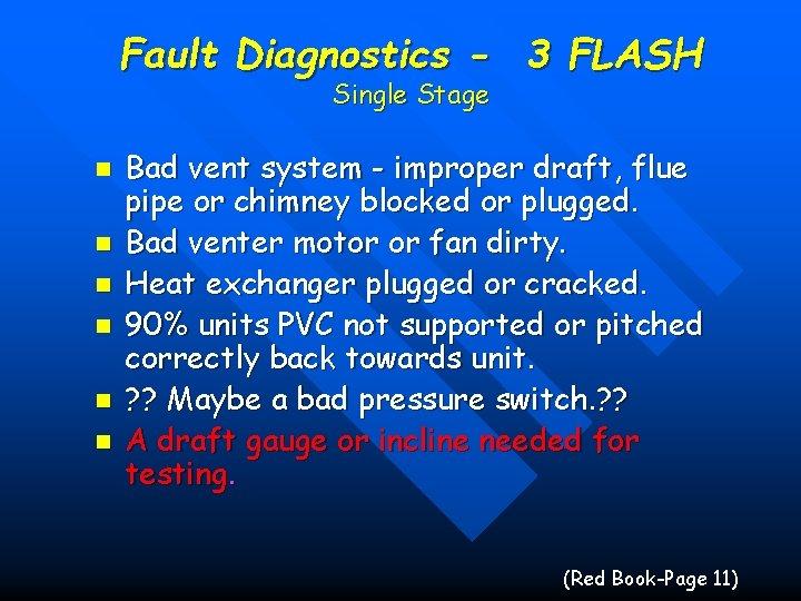 Fault Diagnostics - 3 FLASH Single Stage n n n Bad vent system -