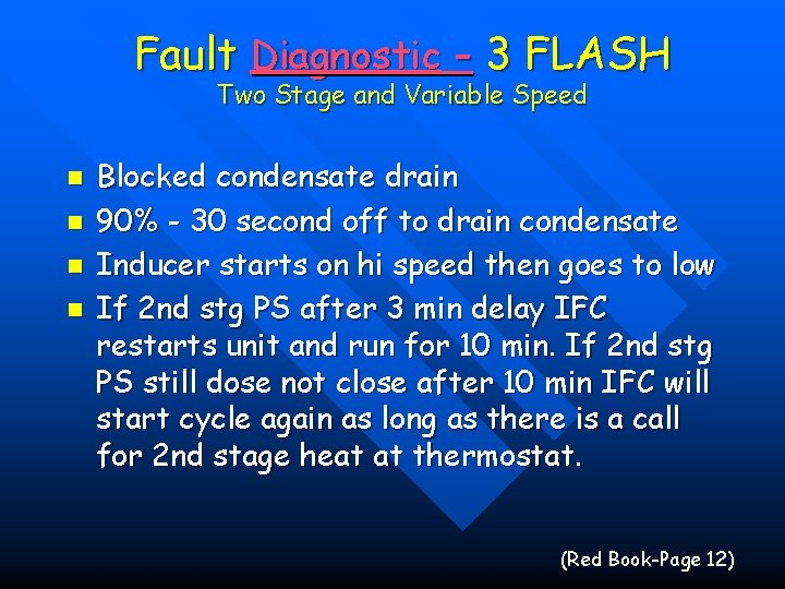 Fault Diagnostic - 3 FLASH Two Stage and Variable Speed n n Blocked condensate