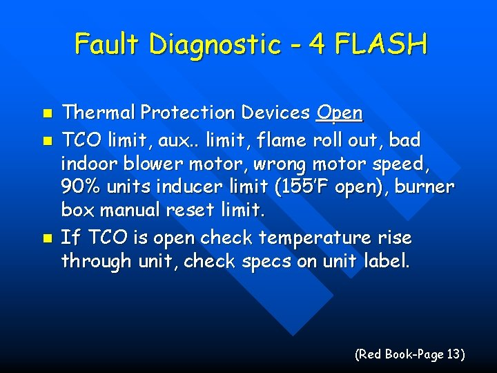 Fault Diagnostic - 4 FLASH n n n Thermal Protection Devices Open TCO limit,