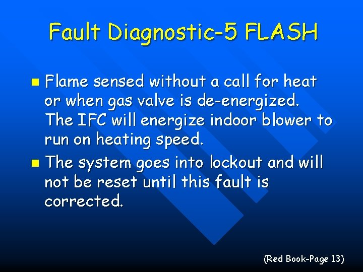 Fault Diagnostic-5 FLASH Flame sensed without a call for heat or when gas valve