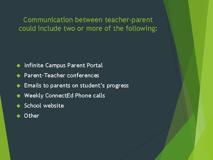 Communication between teacher-parent could include two or more of the following: Infinite Campus Parent