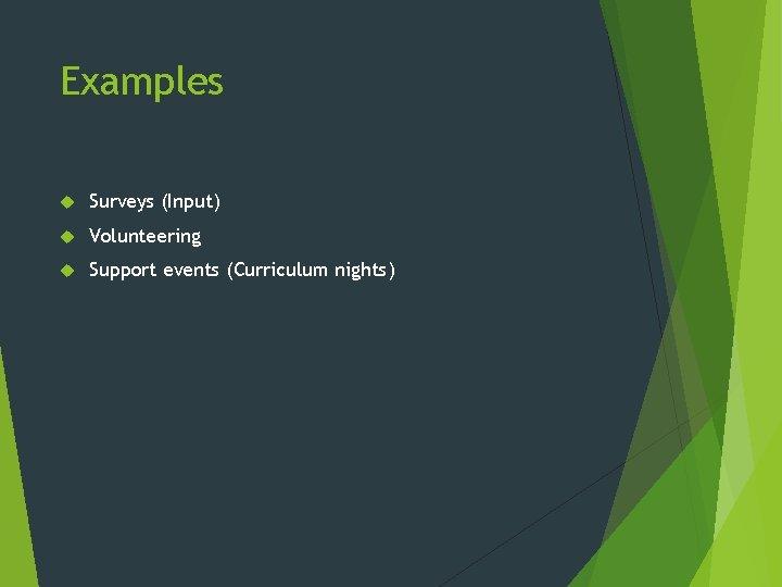 Examples Surveys (Input) Volunteering Support events (Curriculum nights)