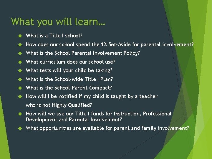 What you will learn… What is a Title I school? How does our school