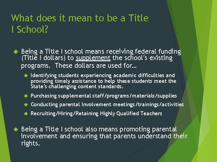 What does it mean to be a Title I School? Being a Title I