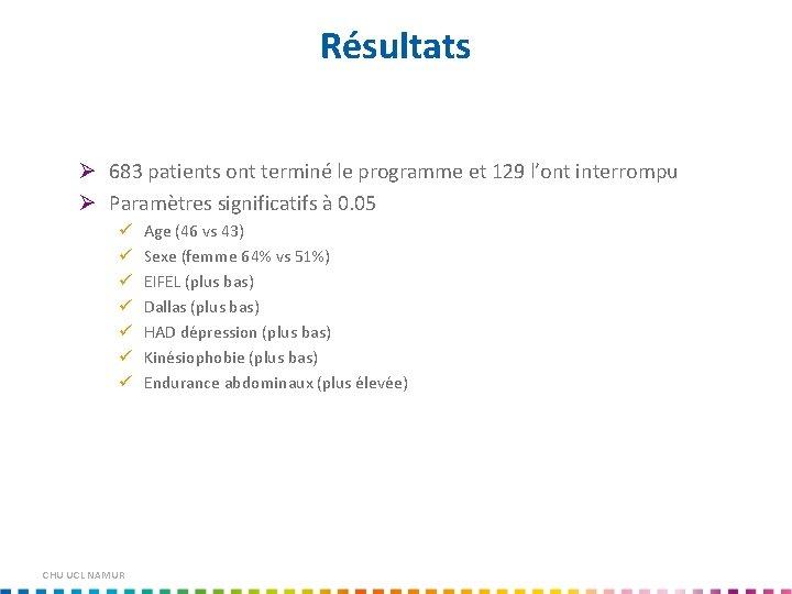 Résultats Ø 683 patients ont terminé le programme et 129 l'ont interrompu Ø Paramètres