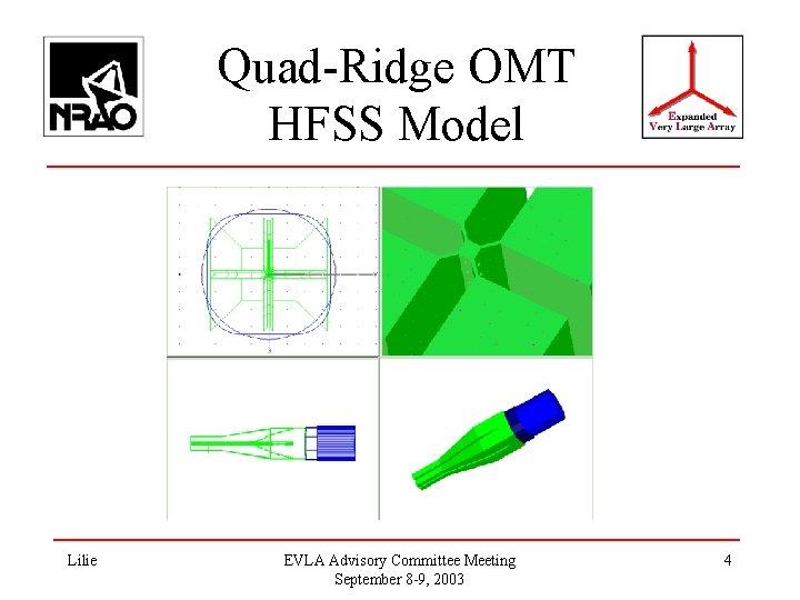 Quad-Ridge OMT HFSS Model Lilie EVLA Advisory Committee Meeting September 8 -9, 2003 4