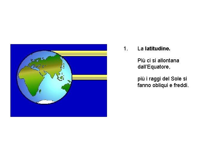 1. La latitudine. Più ci si allontana dall'Equatore, più i raggi del Sole si