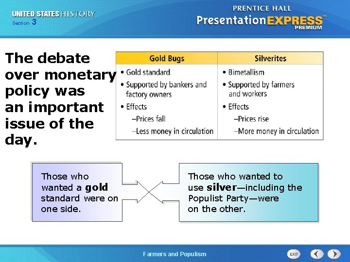 Chapter Section 3 25 Section 1 The debate over monetary policy was an important