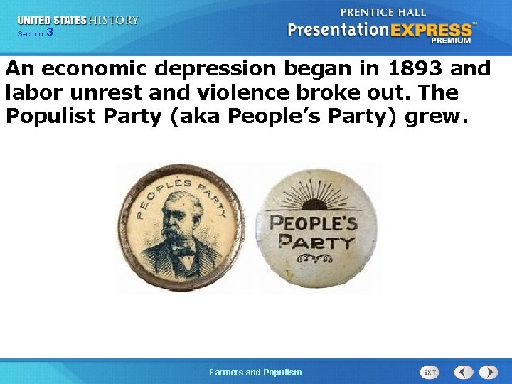 Chapter Section 3 25 Section 1 An economic depression began in 1893 and labor