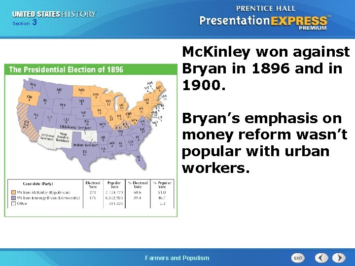 Chapter Section 3 25 Section 1 Mc. Kinley won against Bryan in 1896 and