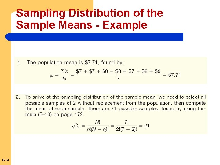 Sampling Distribution of the Sample Means - Example 8 -14