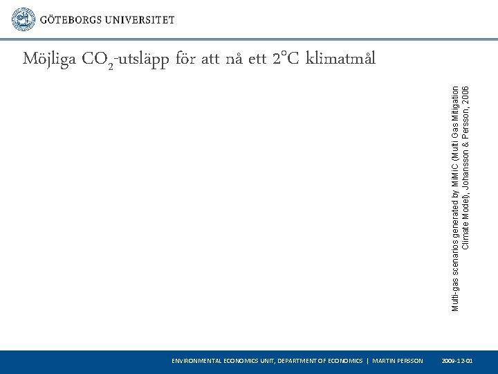 Multi-gas scenarios generated by Mi. C (Multi Gas Mitigation Climate Model), Johansson & Persson,