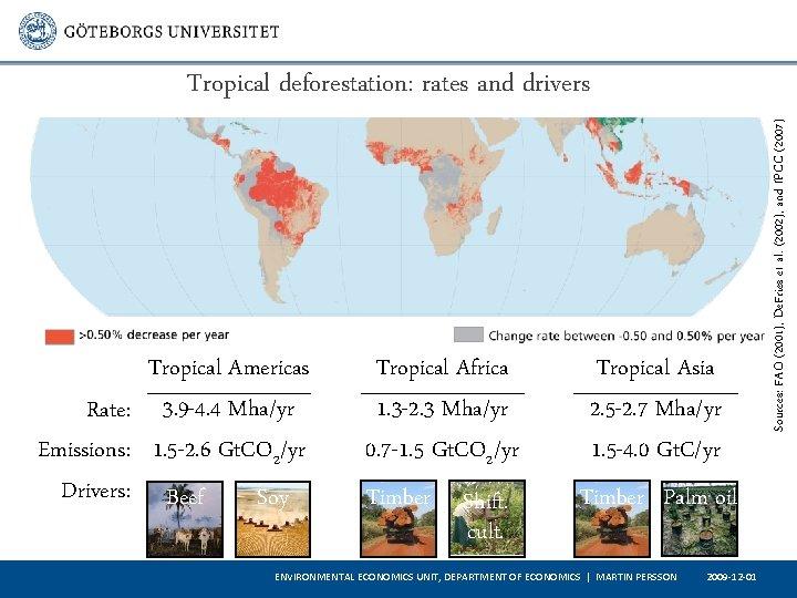 Tropical Americas Rate: 3. 9 -4. 4 Mha/yr Emissions: 1. 5 -2. 6 Gt.