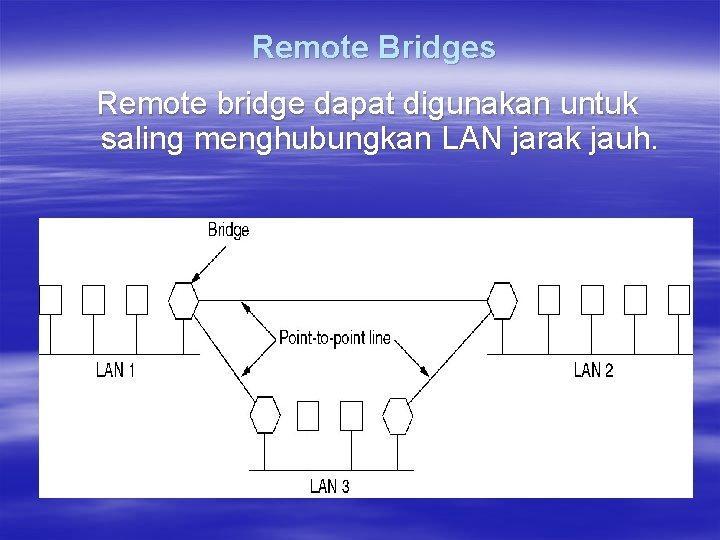 Remote Bridges Remote bridge dapat digunakan untuk saling menghubungkan LAN jarak jauh.