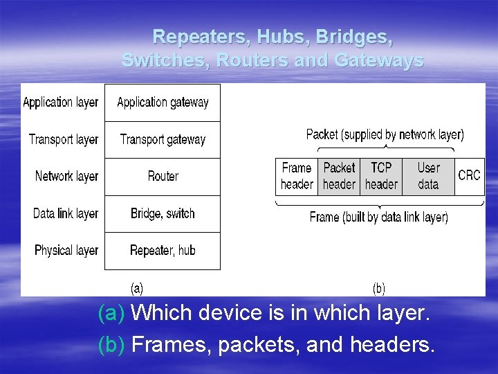 Repeaters, Hubs, Bridges, Switches, Routers and Gateways (a) Which device is in which layer.