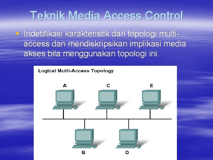 Teknik Media Access Control § Indetifikasi karakteristik dari topologi multiaccess dan mendiskripsikan implikasi media
