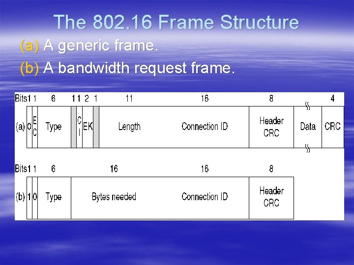 The 802. 16 Frame Structure (a) A generic frame. (b) A bandwidth request frame.