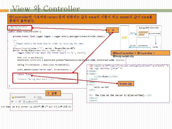 View 와 Controller @Controller만 사용되면 return 문에 반환되는 값은 view의 이름이 되고 model의 값이