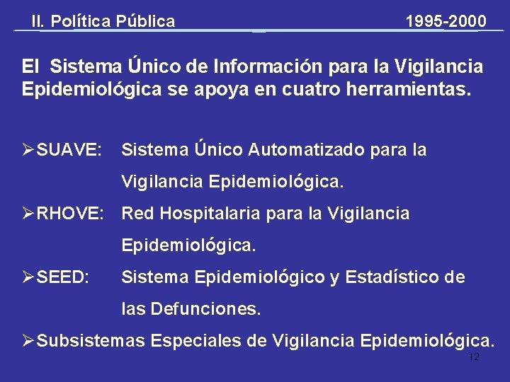 II. Política Pública 1995 -2000 El Sistema Único de Información para la Vigilancia Epidemiológica
