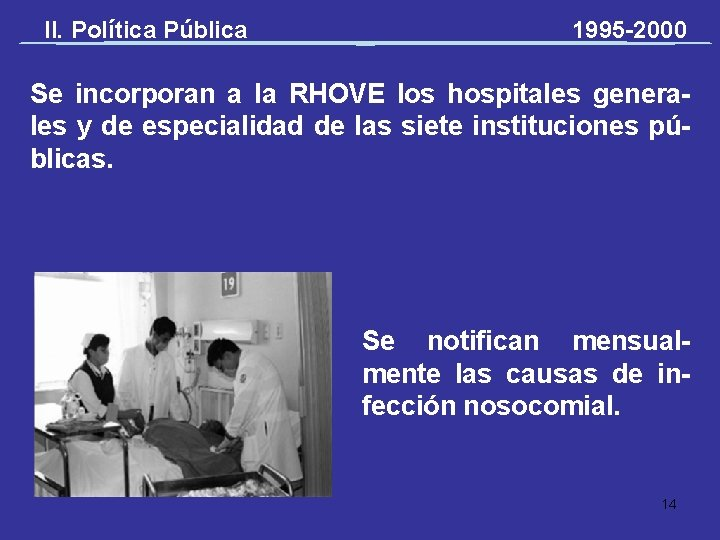 II. Política Pública 1995 -2000 Se incorporan a la RHOVE los hospitales generales y