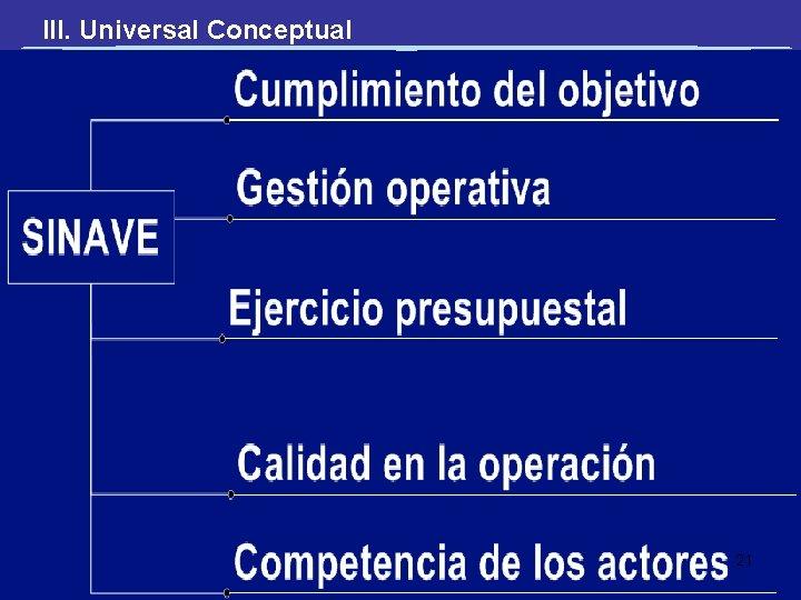 III. Universal Conceptual 21