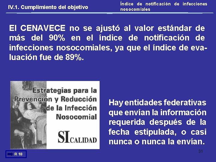 IV. 1. Cumplimiento del objetivo Índice de notificación de infecciones nosocomiales El CENAVECE no